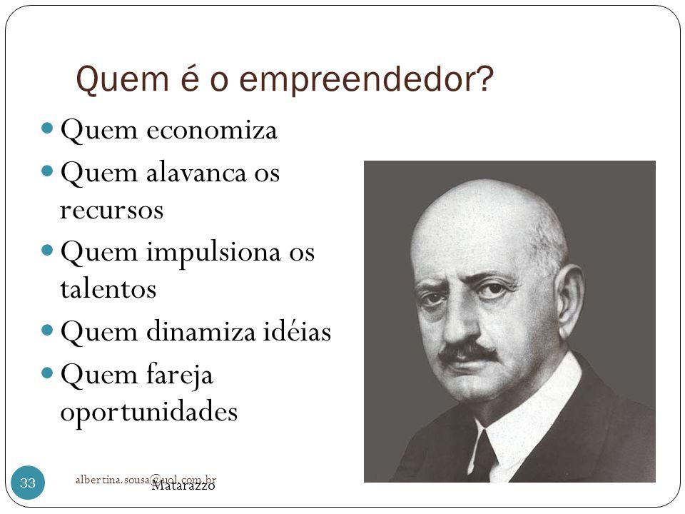 Quem é o empreendedor? Quem economiza Quem alavanca os recursos Quem impulsiona os talentos Quem dinamiza idéias Quem fareja oportunidades Matarazzo 3