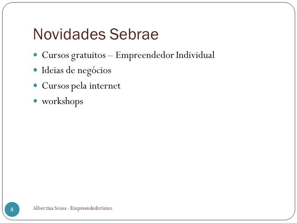 Novidades Sebrae Cursos gratuitos – Empreendedor Individual Ideias de negócios Cursos pela internet workshops 4 Albertina Sousa - Empreendedorismo
