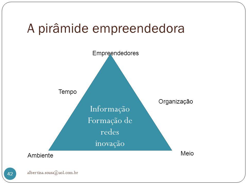 A pirâmide empreendedora albertina.sousa@uol.com.br 42 Informação Formação de redes inovação Empreendedores Tempo Meio Organização Ambiente