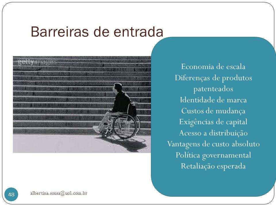 Barreiras de entrada albertina.sousa@uol.com.br 48 Economia de escala Diferenças de produtos patenteados Identidade de marca Custos de mudança Exigênc