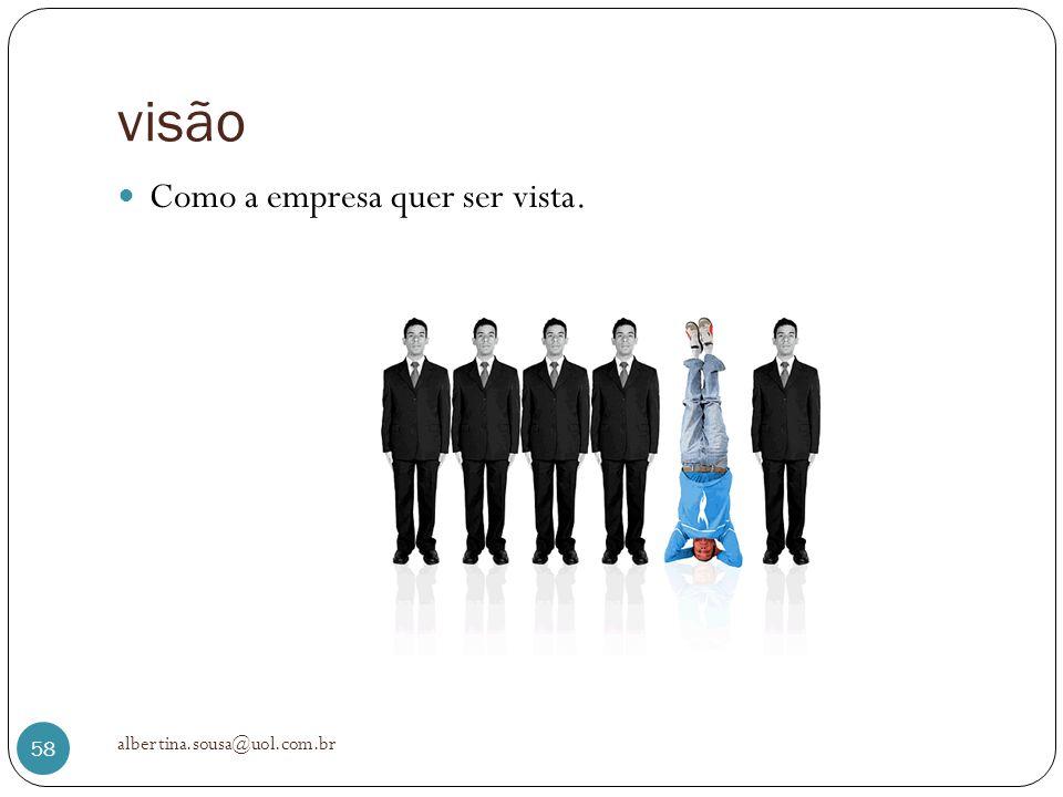 visão Como a empresa quer ser vista. albertina.sousa@uol.com.br 58
