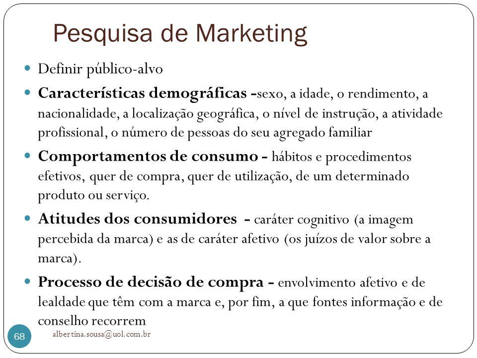 Pesquisa de Marketing Definir público-alvo Características demográficas - sexo, a idade, o rendimento, a nacionalidade, a localização geográfica, o ní