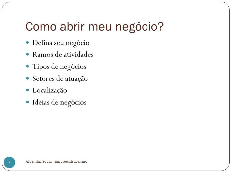 Como abrir meu negócio? Defina seu negócio Ramos de atividades Tipos de negócios Setores de atuação Localização Ideias de negócios 7 Albertina Sousa -