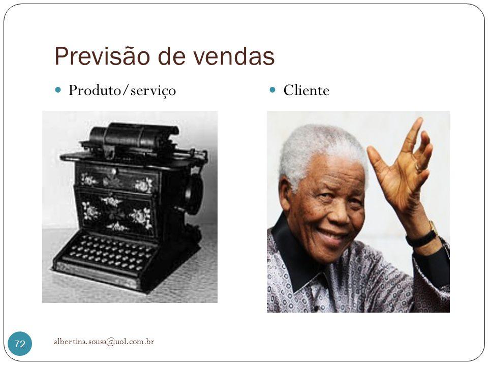 Previsão de vendas Produto/serviço Cliente albertina.sousa@uol.com.br 72