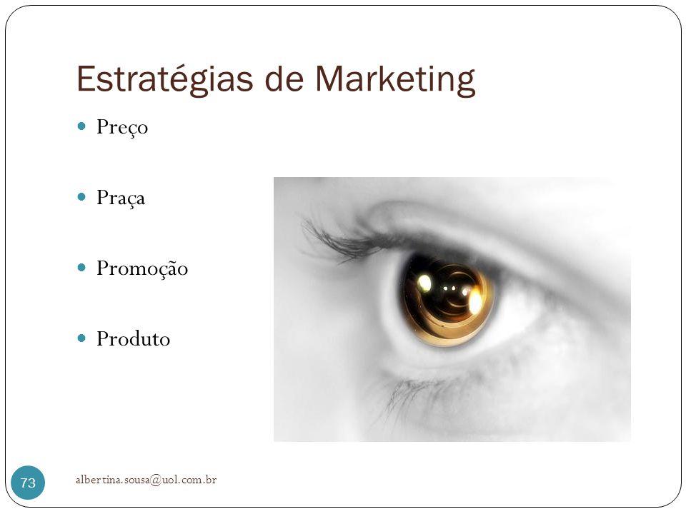 Estratégias de Marketing Preço Praça Promoção Produto albertina.sousa@uol.com.br 73