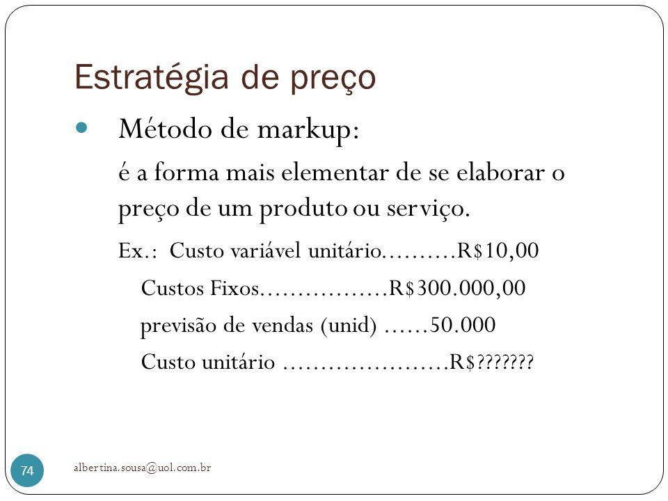 Estratégia de preço Método de markup: é a forma mais elementar de se elaborar o preço de um produto ou serviço. Ex.: Custo variável unitário..........