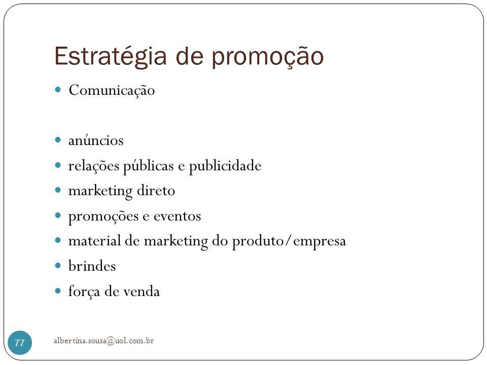 Estratégia de promoção Comunicação anúncios relações públicas e publicidade marketing direto promoções e eventos material de marketing do produto/empr