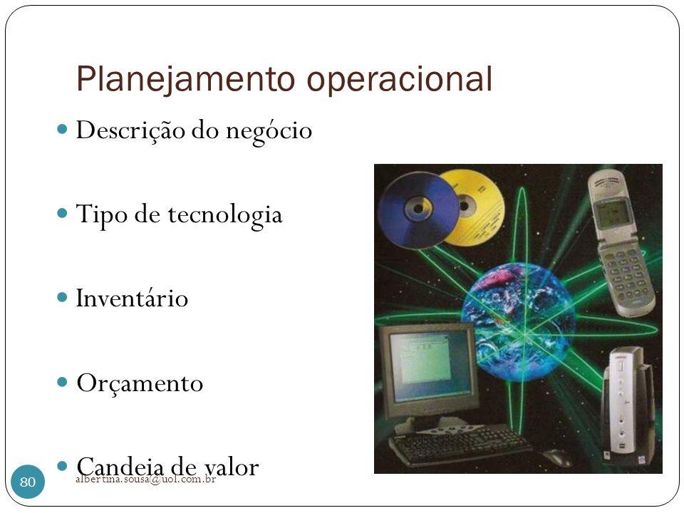 Planejamento operacional Descrição do negócio Tipo de tecnologia Inventário Orçamento Candeia de valor albertina.sousa@uol.com.br 80