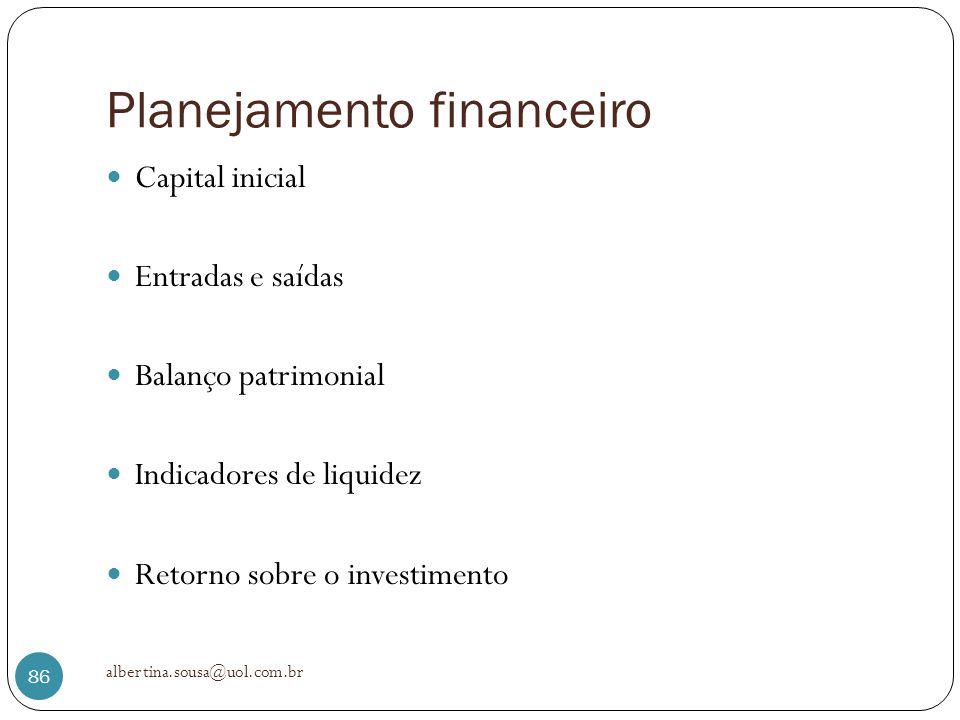 Planejamento financeiro Capital inicial Entradas e saídas Balanço patrimonial Indicadores de liquidez Retorno sobre o investimento albertina.sousa@uol
