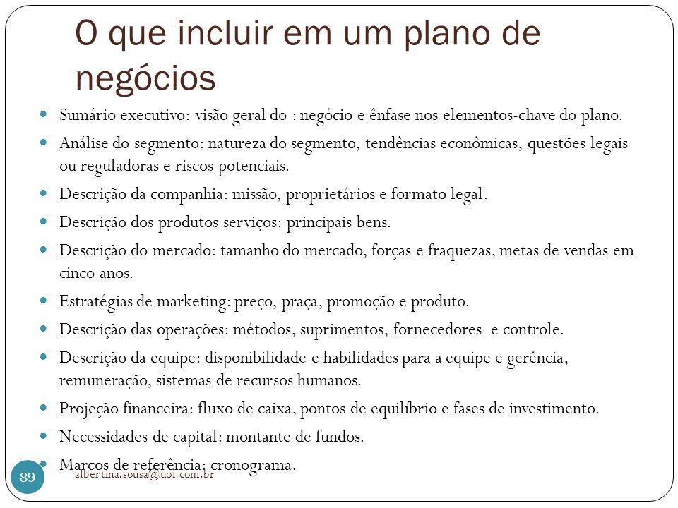 O que incluir em um plano de negócios Sumário executivo: visão geral do : negócio e ênfase nos elementos-chave do plano. Análise do segmento: natureza