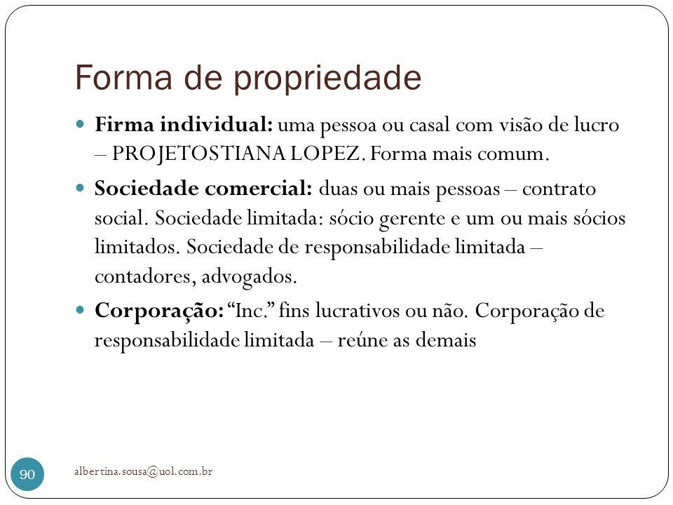 Forma de propriedade Firma individual: uma pessoa ou casal com visão de lucro – PROJETOS TIANA LOPEZ. Forma mais comum. Sociedade comercial: duas ou m