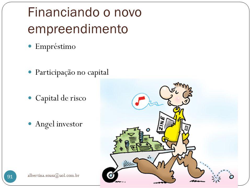Financiando o novo empreendimento Empréstimo Participação no capital Capital de risco Angel investor albertina.sousa@uol.com.br 91