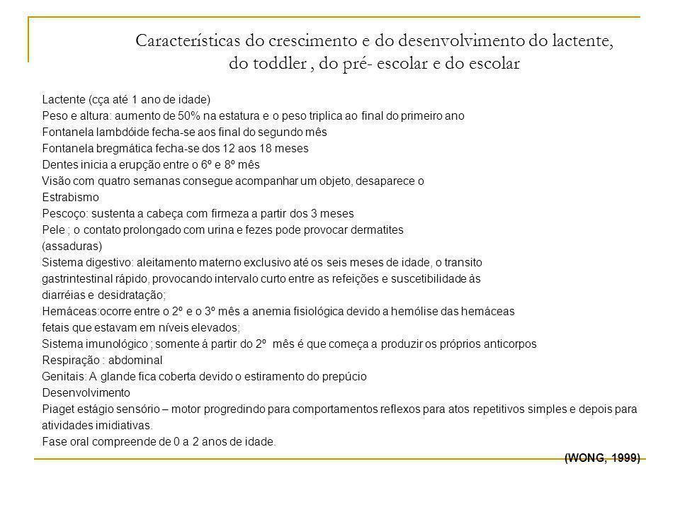 Características do crescimento e do desenvolvimento do lactente, do toddler, do pré- escolar e do escolar Lactente (cça até 1 ano de idade) Peso e alt