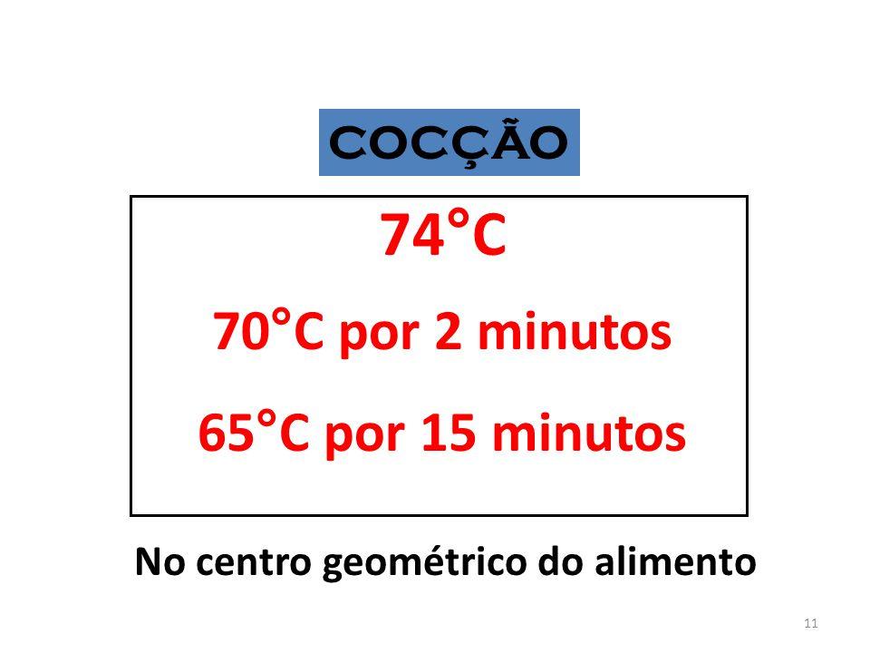 COCÇÃO 74°C 70°C por 2 minutos 65°C por 15 minutos No centro geométrico do alimento 11