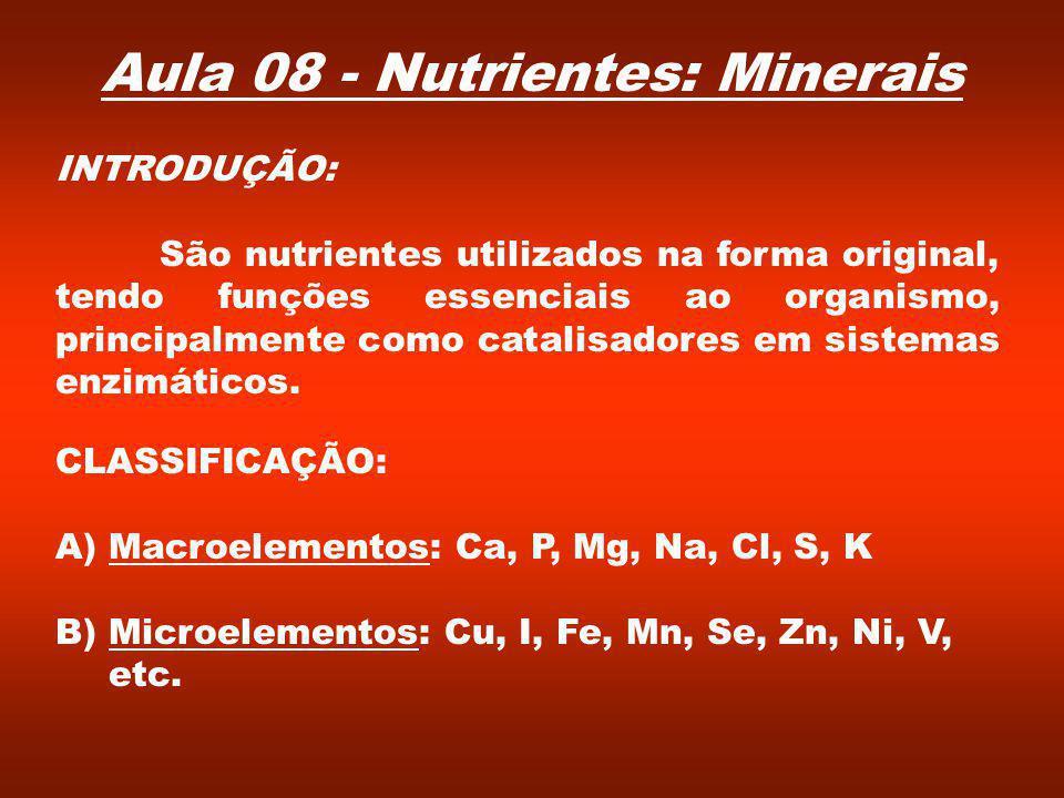 CLASSIFICAÇÃO: A)Macroelementos: Ca, P, Mg, Na, Cl, S, K B) Microelementos: Cu, I, Fe, Mn, Se, Zn, Ni, V, etc.