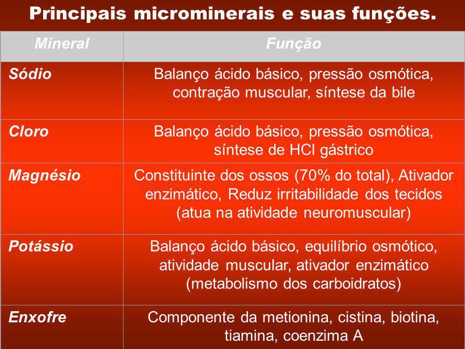 Principais microminerais e suas funções.
