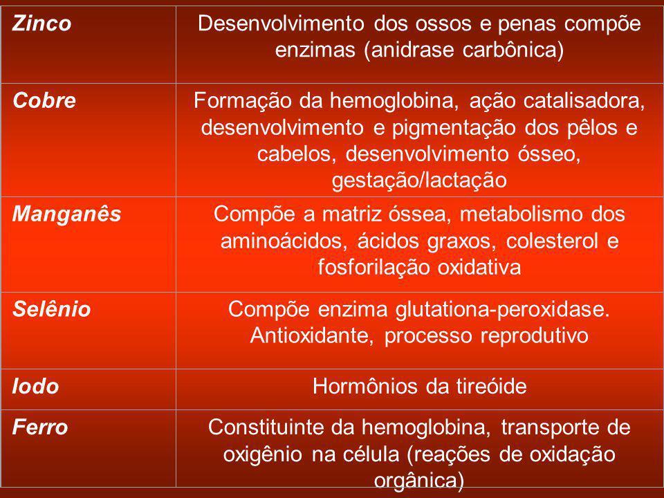 ZincoDesenvolvimento dos ossos e penas compõe enzimas (anidrase carbônica) CobreFormação da hemoglobina, ação catalisadora, desenvolvimento e pigmentação dos pêlos e cabelos, desenvolvimento ósseo, gestação/lactação ManganêsCompõe a matriz óssea, metabolismo dos aminoácidos, ácidos graxos, colesterol e fosforilação oxidativa SelênioCompõe enzima glutationa-peroxidase.