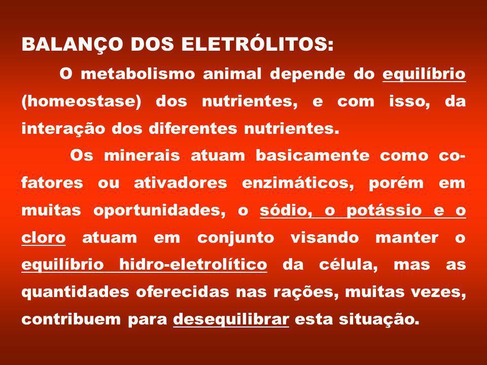 BALANÇO DOS ELETRÓLITOS: O metabolismo animal depende do equilíbrio (homeostase) dos nutrientes, e com isso, da interação dos diferentes nutrientes.