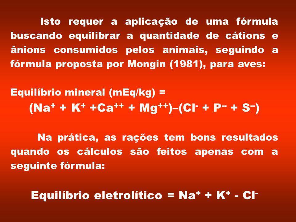 Isto requer a aplicação de uma fórmula buscando equilibrar a quantidade de cátions e ânions consumidos pelos animais, seguindo a fórmula proposta por Mongin (1981), para aves: Equilíbrio mineral (mEq/kg) = (Na + + K + +Ca ++ + Mg ++ )–(Cl - + P -- + S -- ) Na prática, as rações tem bons resultados quando os cálculos são feitos apenas com a seguinte fórmula: Equilíbrio eletrolítico = Na + + K + - Cl -
