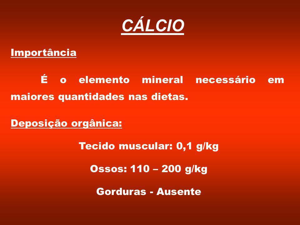 Importância É o elemento mineral necessário em maiores quantidades nas dietas.