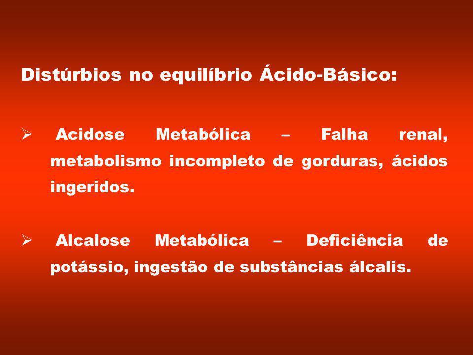 Distúrbios no equilíbrio Ácido-Básico: Acidose Metabólica – Falha renal, metabolismo incompleto de gorduras, ácidos ingeridos.