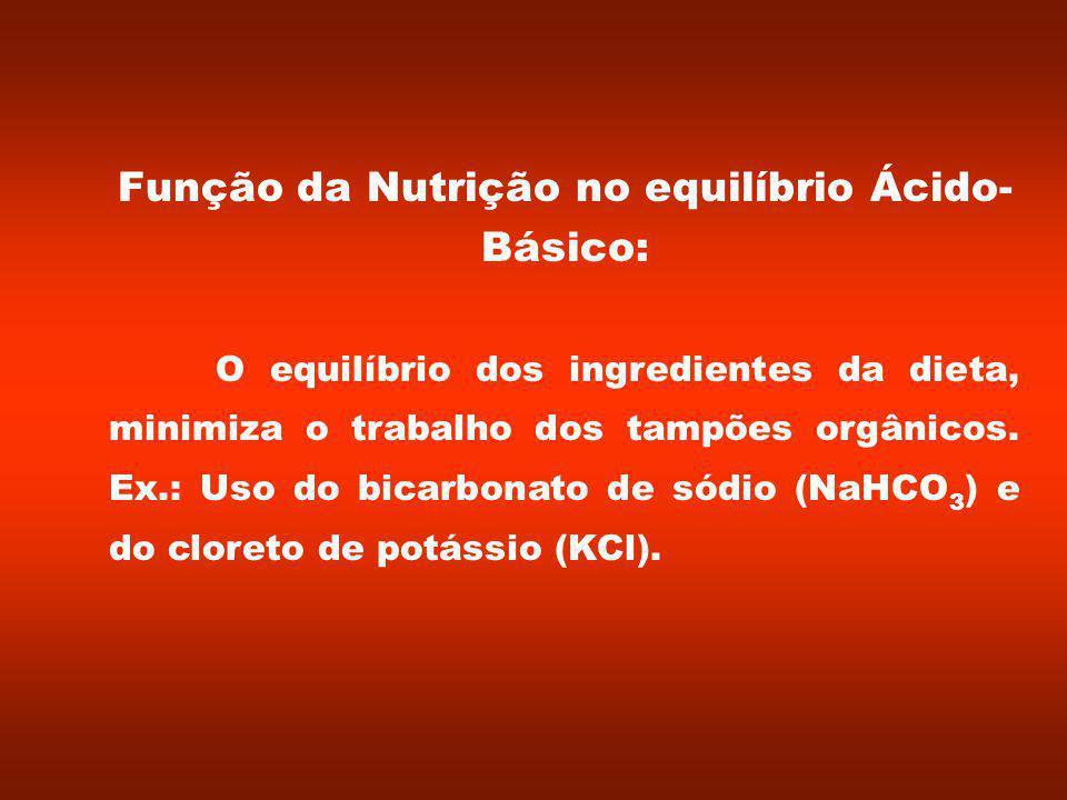 Função da Nutrição no equilíbrio Ácido- Básico: O equilíbrio dos ingredientes da dieta, minimiza o trabalho dos tampões orgânicos.
