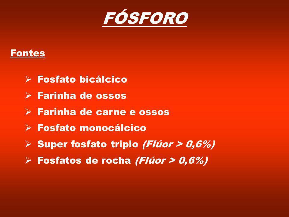 FÓSFORO Fontes Fosfato bicálcico Farinha de ossos Farinha de carne e ossos Fosfato monocálcico Super fosfato triplo (Flúor > 0,6%) Fosfatos de rocha (Flúor > 0,6%)
