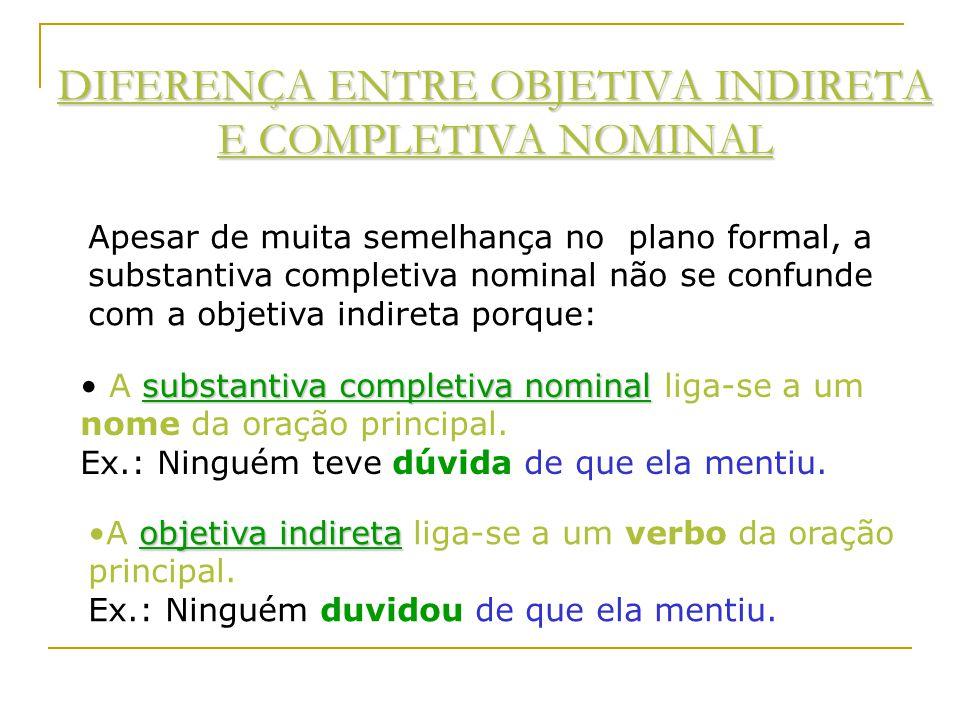 ORAÇÃO SUBORDINADA SUBSTANTIVA COMPLETIVA NOMINAL É aquela que funciona como complemento nominal de um nome da oração principal. Ex: Chego à conclusão