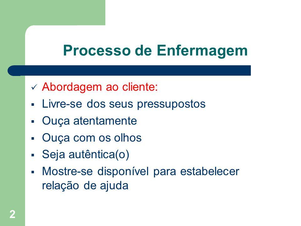 2 Processo de Enfermagem Abordagem ao cliente: Livre-se dos seus pressupostos Ouça atentamente Ouça com os olhos Seja autêntica(o) Mostre-se disponível para estabelecer relação de ajuda