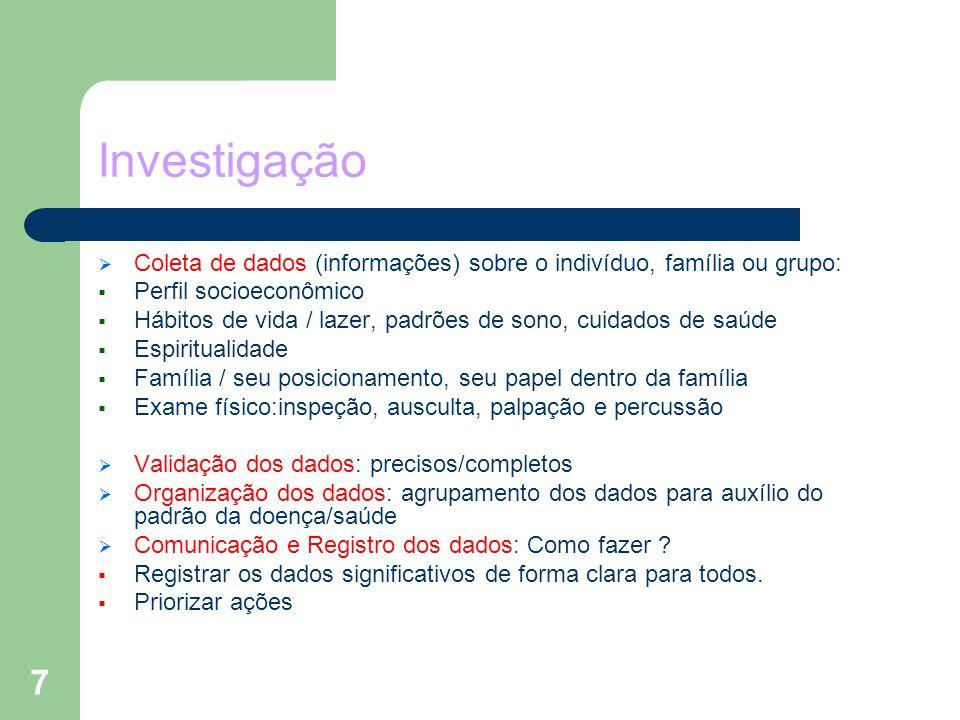 7 Investigação Coleta de dados (informações) sobre o indivíduo, família ou grupo: Perfil socioeconômico Hábitos de vida / lazer, padrões de sono, cuid