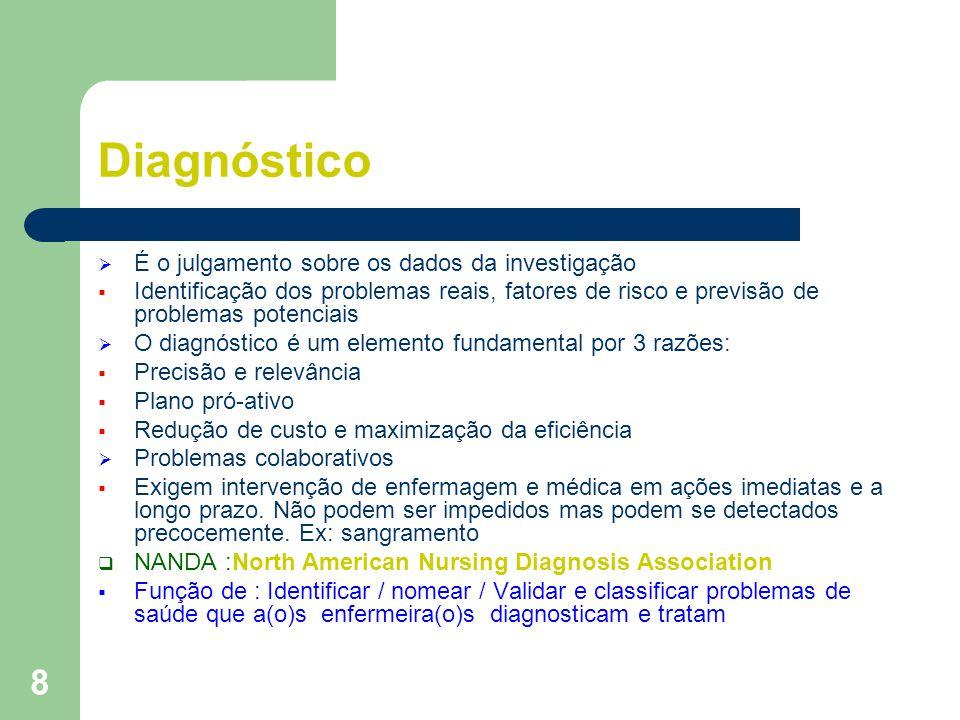 8 Diagnóstico É o julgamento sobre os dados da investigação Identificação dos problemas reais, fatores de risco e previsão de problemas potenciais O d
