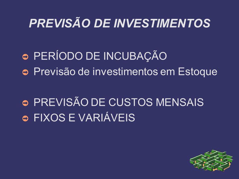 PREVISÃO DE INVESTIMENTOS PERÍODO DE INCUBAÇÃO Previsão de investimentos em Estoque PREVISÃO DE CUSTOS MENSAIS FIXOS E VARIÁVEIS