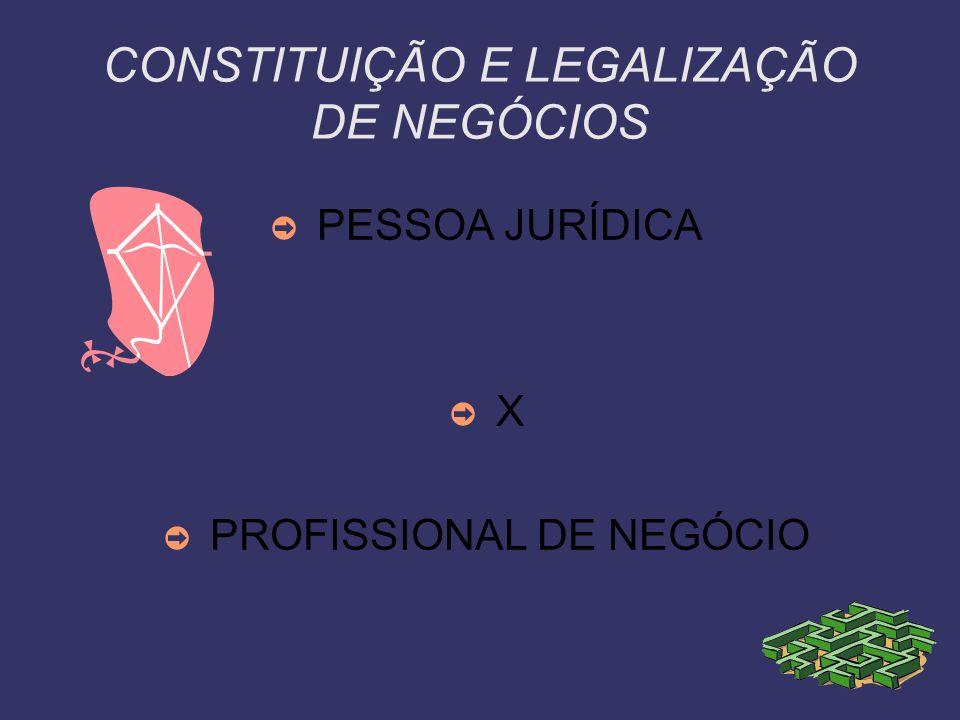 CONSTITUIÇÃO E LEGALIZAÇÃO DE NEGÓCIOS PESSOA JURÍDICA X PROFISSIONAL DE NEGÓCIO