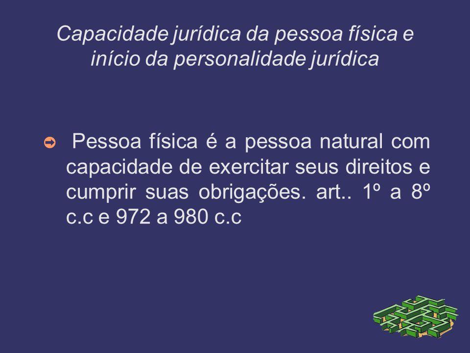 Capacidade jurídica da pessoa física e início da personalidade jurídica Pessoa física é a pessoa natural com capacidade de exercitar seus direitos e c