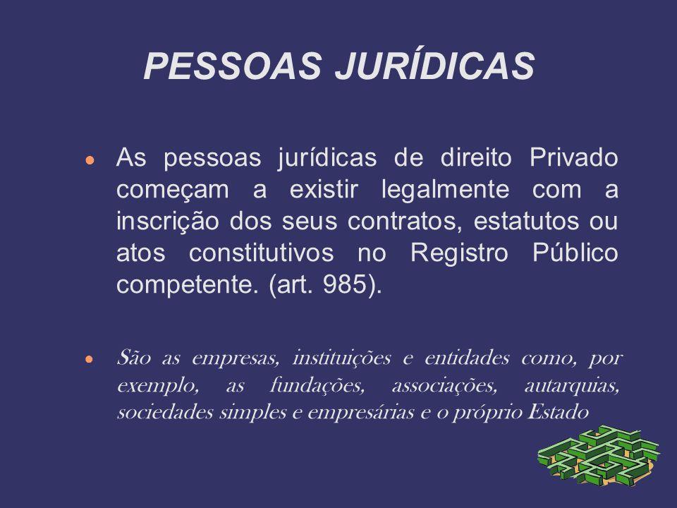 PESSOAS JURÍDICAS As pessoas jurídicas de direito Privado começam a existir legalmente com a inscrição dos seus contratos, estatutos ou atos constitut