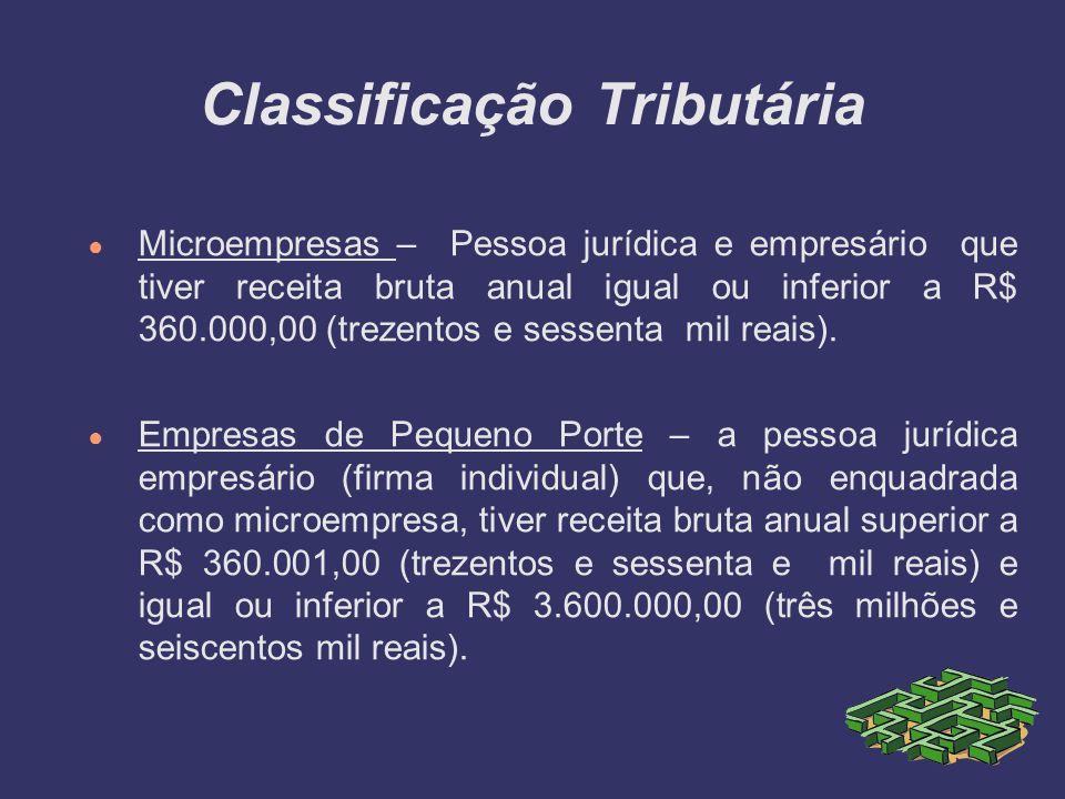 Classificação Tributária Microempresas – Pessoa jurídica e empresário que tiver receita bruta anual igual ou inferior a R$ 360.000,00 (trezentos e ses
