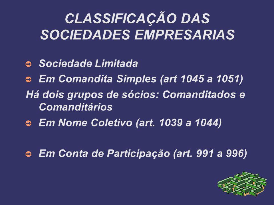 CLASSIFICAÇÃO DAS SOCIEDADES EMPRESARIAS Sociedade Limitada Em Comandita Simples (art 1045 a 1051) Há dois grupos de sócios: Comanditados e Comanditár