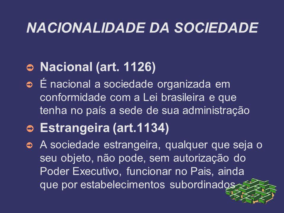 NACIONALIDADE DA SOCIEDADE Nacional (art. 1126) É nacional a sociedade organizada em conformidade com a Lei brasileira e que tenha no país a sede de s