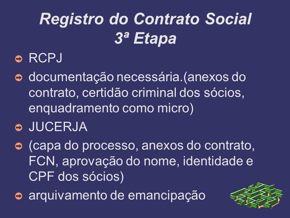 Registro do Contrato Social 3ª Etapa RCPJ documentação necessária.(anexos do contrato, certidão criminal dos sócios, enquadramento como micro) JUCERJA