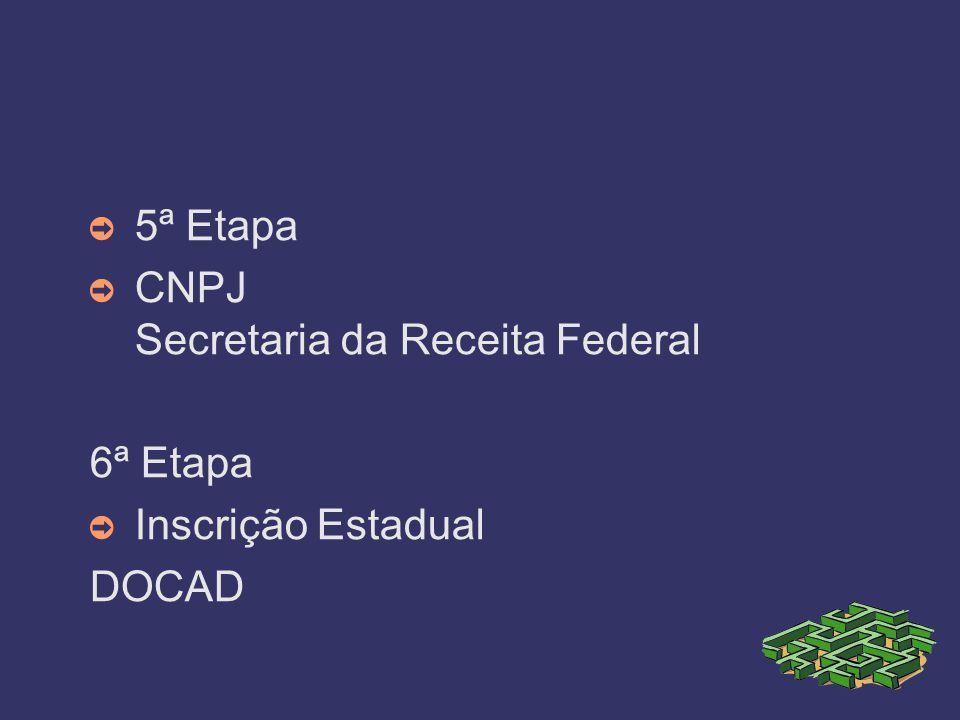 5ª Etapa CNPJ Secretaria da Receita Federal 6ª Etapa Inscrição Estadual DOCAD