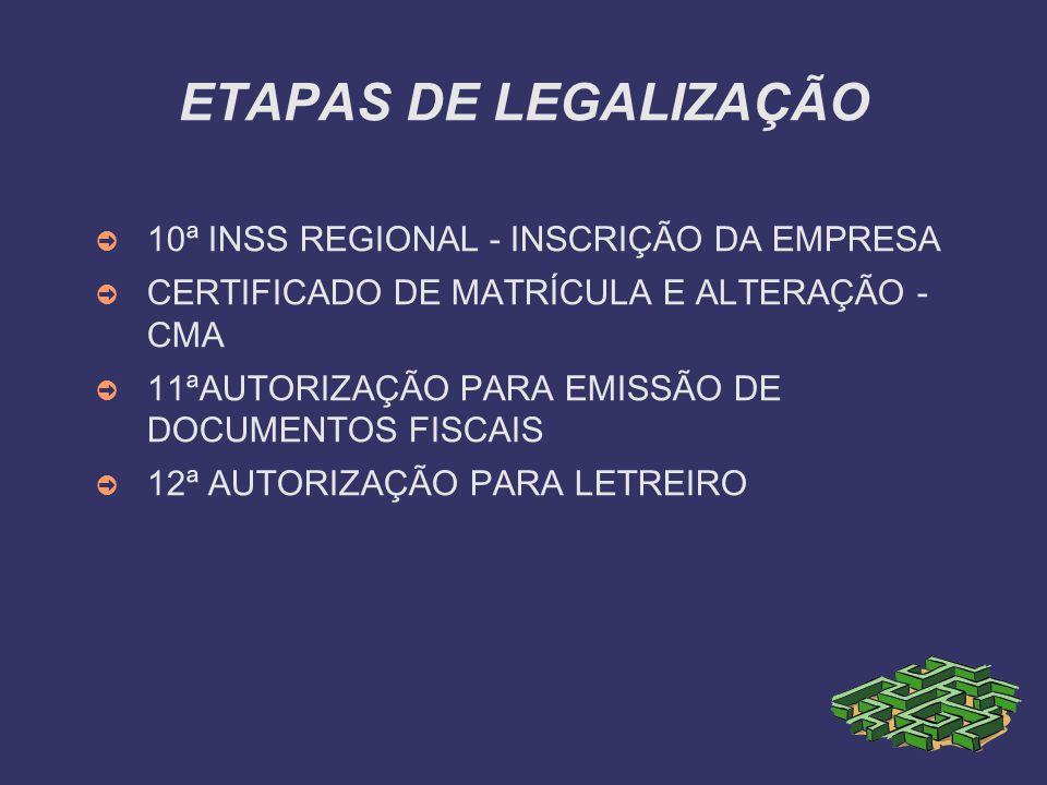 ETAPAS DE LEGALIZAÇÃO 10ª INSS REGIONAL - INSCRIÇÃO DA EMPRESA CERTIFICADO DE MATRÍCULA E ALTERAÇÃO - CMA 11ªAUTORIZAÇÃO PARA EMISSÃO DE DOCUMENTOS FI