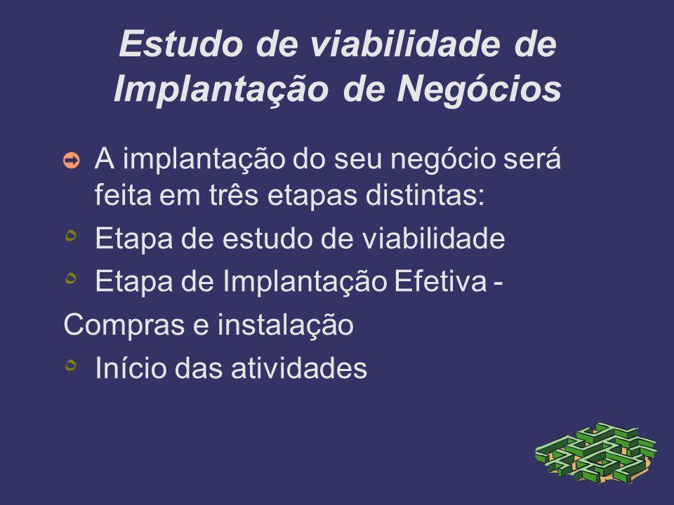 A implantação do seu negócio será feita em três etapas distintas: ٥ Etapa de estudo de viabilidade ٥ Etapa de Implantação Efetiva - Compras e instalaç