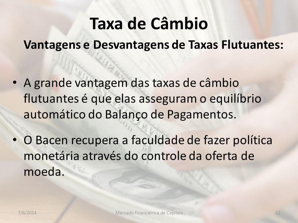 Taxa de Câmbio Vantagens e Desvantagens de Taxas Flutuantes: A grande vantagem das taxas de câmbio flutuantes é que elas asseguram o equilíbrio automático do Balanço de Pagamentos.