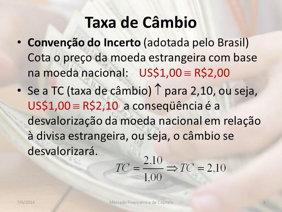 Taxa de Câmbio Convenção do Incerto (adotada pelo Brasil) Cota o preço da moeda estrangeira com base na moeda nacional: US$1,00 R$2,00 Se a TC (taxa de câmbio) para 2,10, ou seja, US$1,00 R$2,10 a conseqüência é a desvalorização da moeda nacional em relação à divisa estrangeira, ou seja, o câmbio se desvalorizará.