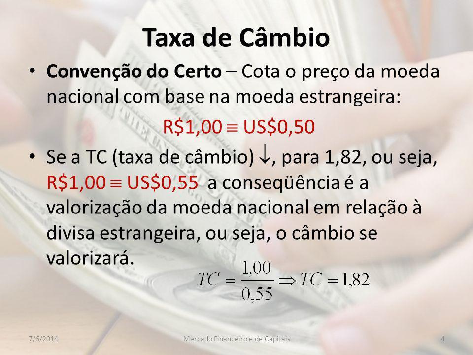 Taxa de Câmbio Convenção do Certo – Cota o preço da moeda nacional com base na moeda estrangeira: R$1,00 US$0,50 Se a TC (taxa de câmbio), para 1,82, ou seja, R$1,00 US$0,55 a conseqüência é a valorização da moeda nacional em relação à divisa estrangeira, ou seja, o câmbio se valorizará.