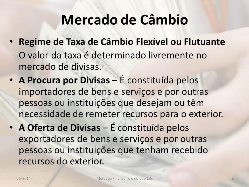 Mercado de Câmbio Regime de Taxa de Câmbio Flexível ou Flutuante O valor da taxa é determinado livremente no mercado de divisas.