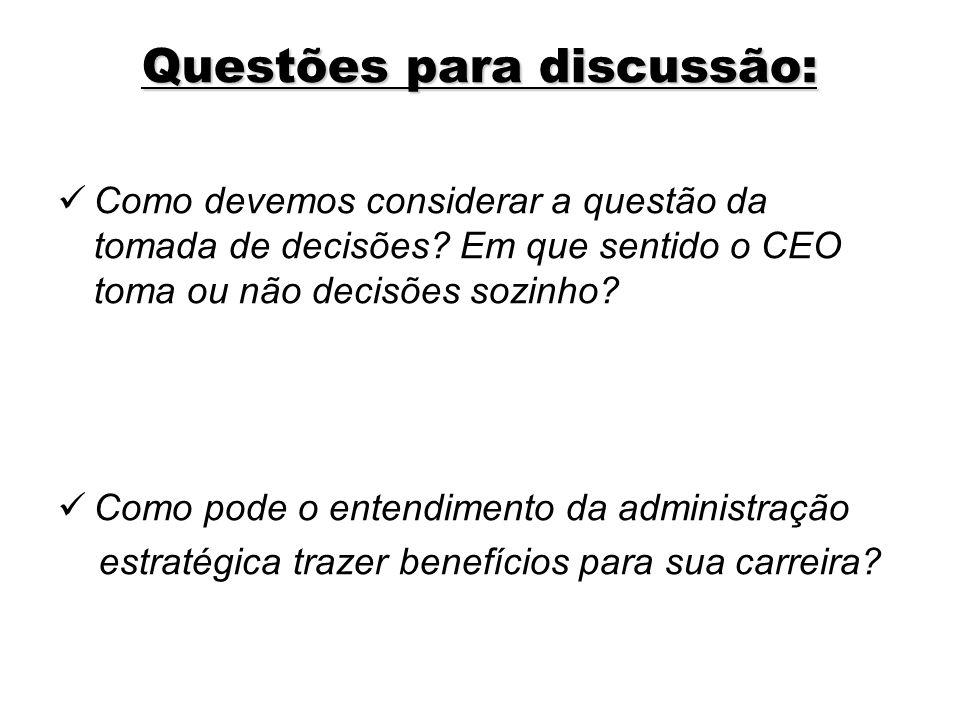 Questões para discussão: Como devemos considerar a questão da tomada de decisões? Em que sentido o CEO toma ou não decisões sozinho? Como pode o enten