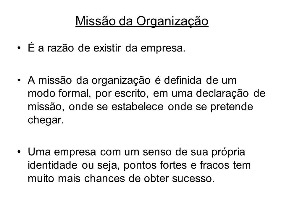 Missão da Organização É a razão de existir da empresa. A missão da organização é definida de um modo formal, por escrito, em uma declaração de missão,