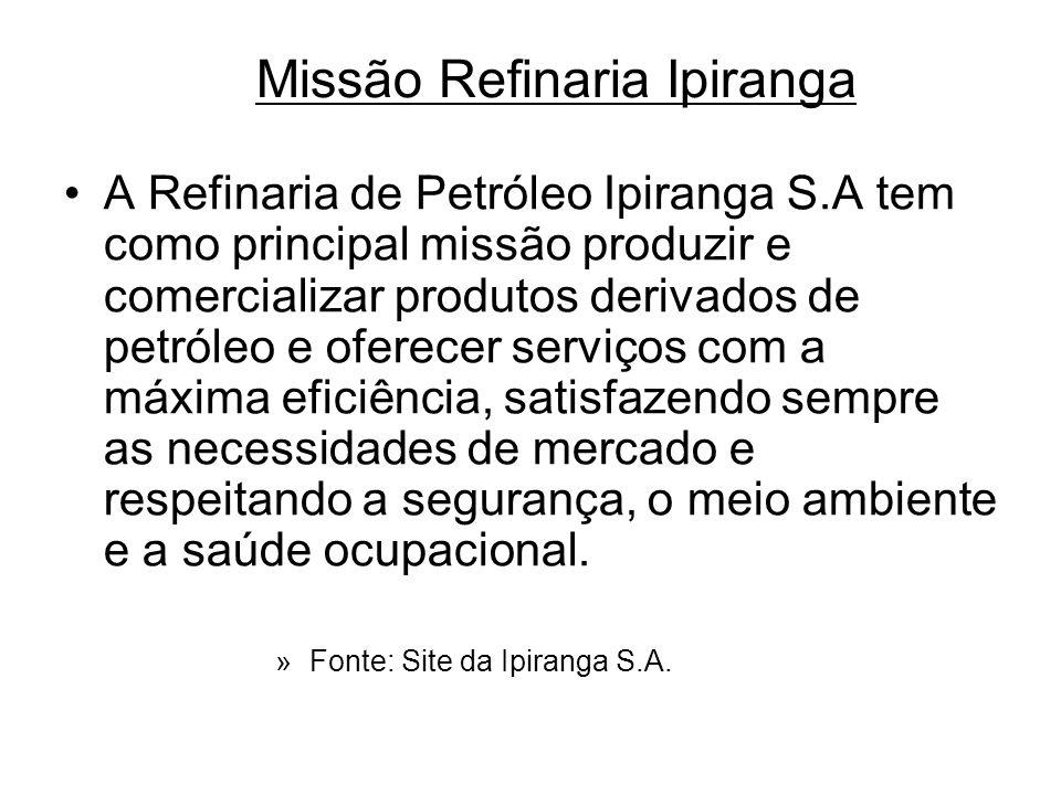 Missão Refinaria Ipiranga A Refinaria de Petróleo Ipiranga S.A tem como principal missão produzir e comercializar produtos derivados de petróleo e ofe