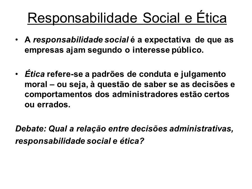 Responsabilidade Social e Ética A responsabilidade social é a expectativa de que as empresas ajam segundo o interesse público. Ética refere-se a padrõ